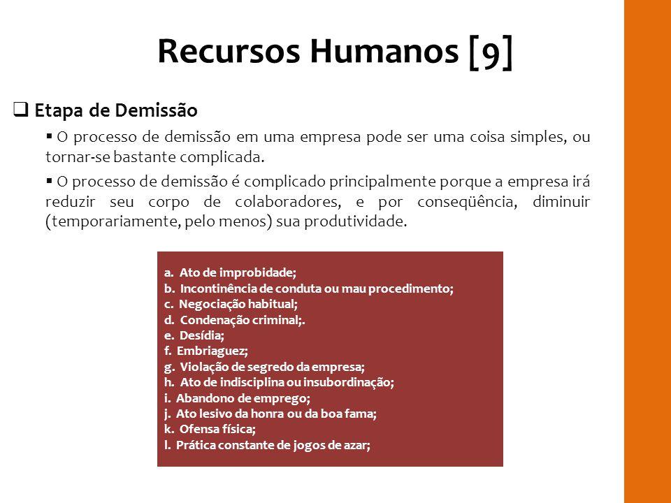 Recursos Humanos [9] Etapa de Demissão O processo de demissão em uma empresa pode ser uma coisa simples, ou tornar-se bastante complicada. O processo