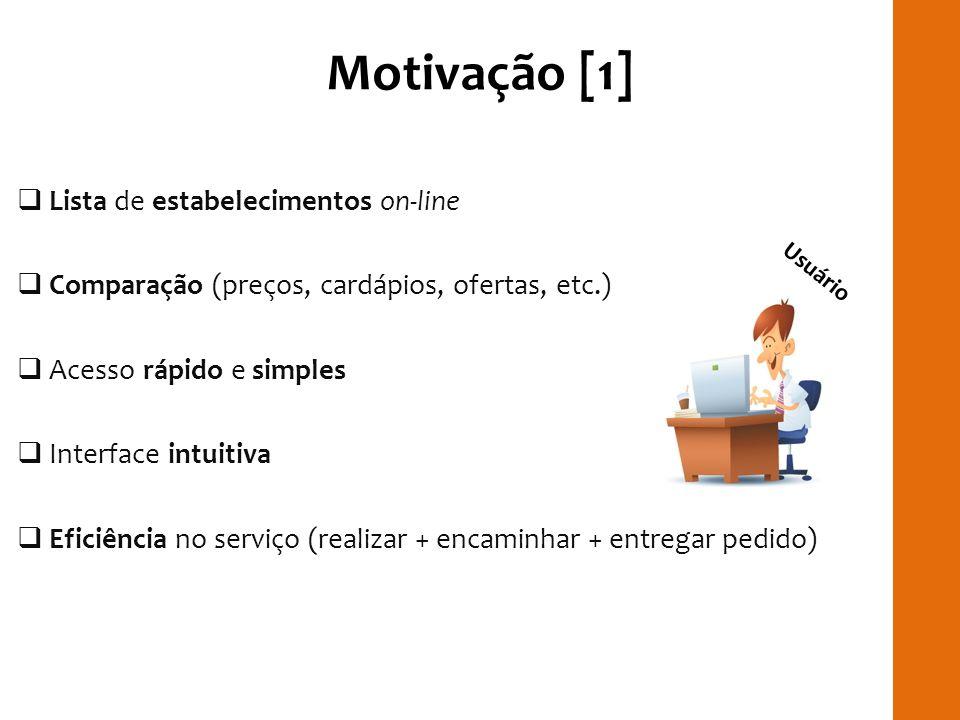 Motivação [1] Lista de estabelecimentos on-line Comparação (preços, cardápios, ofertas, etc.) Acesso rápido e simples Interface intuitiva Eficiência n