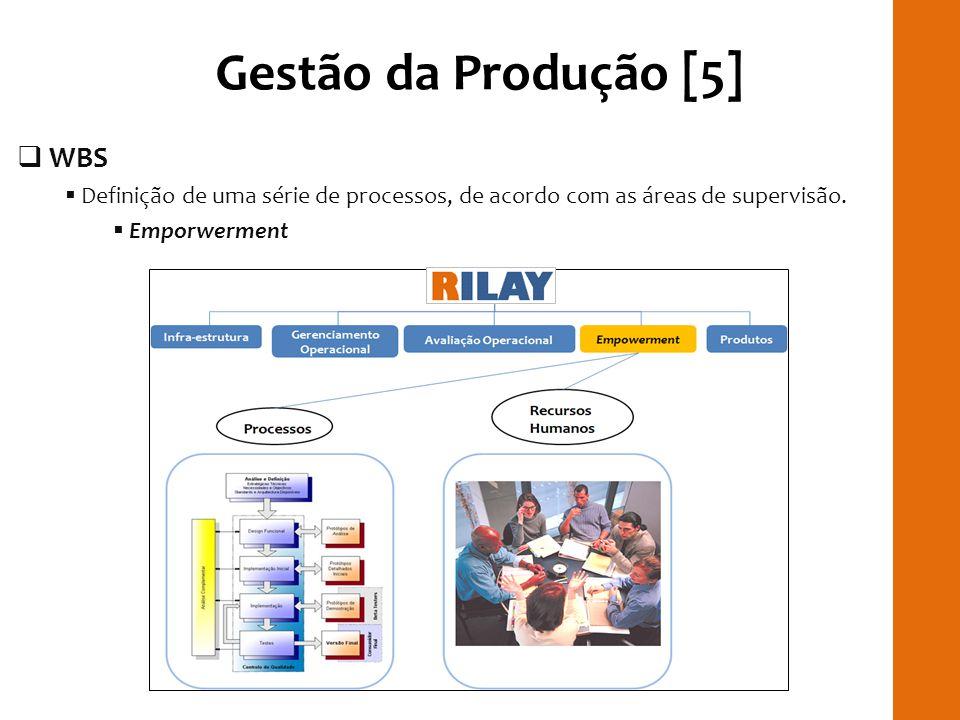 Gestão da Produção [5] WBS Definição de uma série de processos, de acordo com as áreas de supervisão. Emporwerment RILAYRILAY