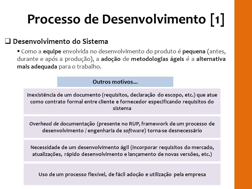 Processo de Desenvolvimento [1] Desenvolvimento do Sistema Como a equipe envolvida no desenvolvimento do produto é pequena (antes, durante e após a pr