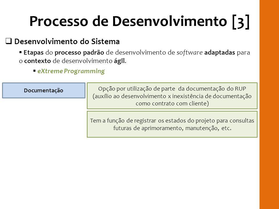 Processo de Desenvolvimento [3] Desenvolvimento do Sistema Etapas do processo padrão de desenvolvimento de software adaptadas para o contexto de desen
