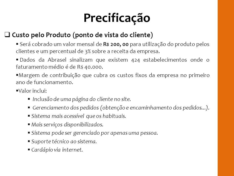 Precificação Custo pelo Produto (ponto de vista do cliente) Será cobrado um valor mensal de R$ 200, 00 para utilização do produto pelos clientes e um