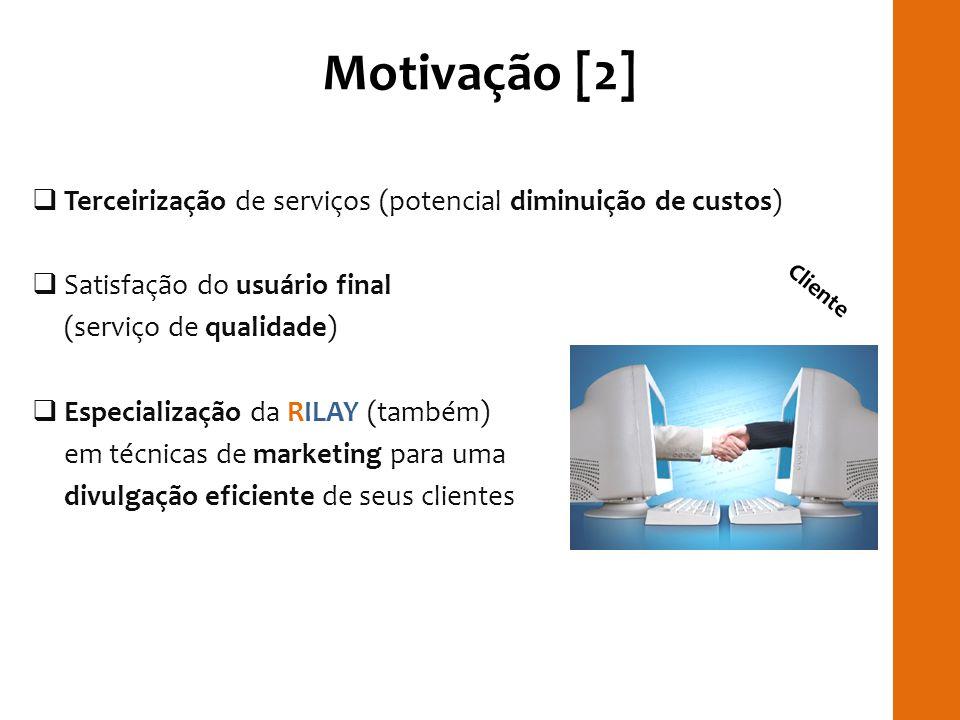 Motivação [2] Terceirização de serviços (potencial diminuição de custos) Satisfação do usuário final (serviço de qualidade) Especialização da RILAY (t