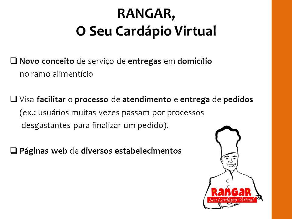 RANGAR, O Seu Cardápio Virtual Novo conceito de serviço de entregas em domicílio no ramo alimentício Visa facilitar o processo de atendimento e entreg