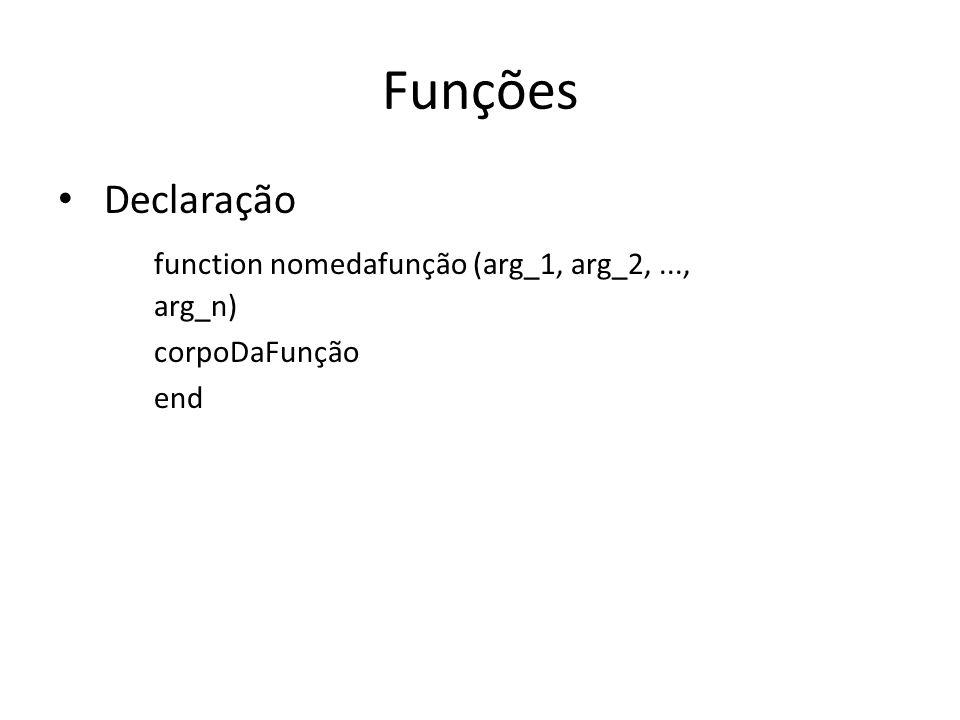 Funções Declaração function nomedafunção (arg_1, arg_2,..., arg_n) corpoDaFunção end