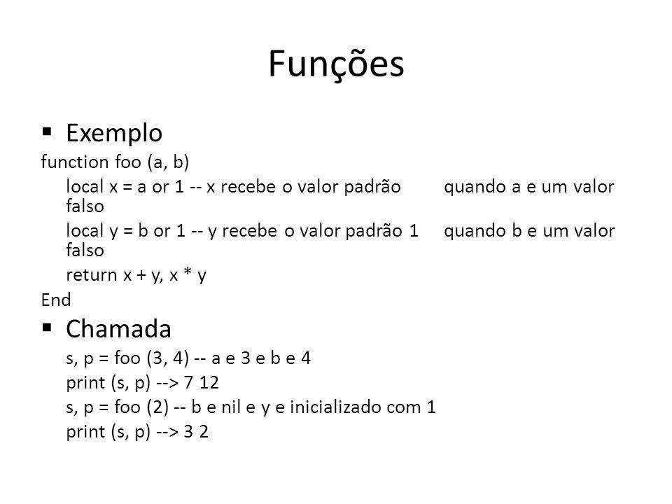 Funções Exemplo function foo (a, b) local x = a or 1 -- x recebe o valor padrão quando a e um valor falso local y = b or 1 -- y recebe o valor padrão 1 quando b e um valor falso return x + y, x * y End Chamada s, p = foo (3, 4) -- a e 3 e b e 4 print (s, p) --> 7 12 s, p = foo (2) -- b e nil e y e inicializado com 1 print (s, p) --> 3 2