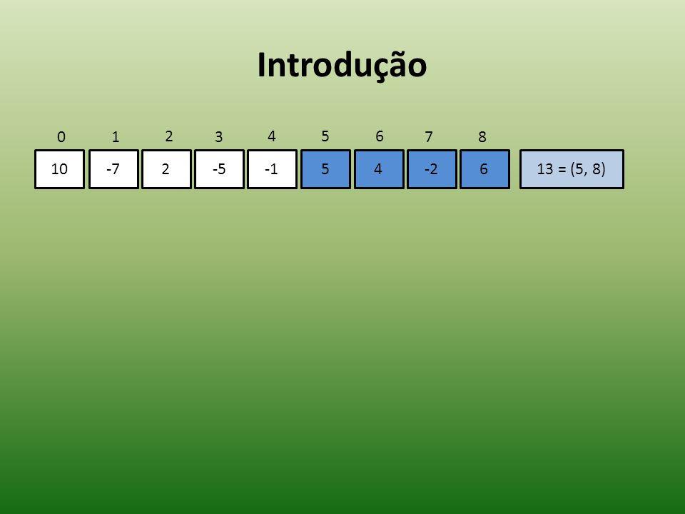 Introdução 10-72-554-2613 = (5, 8) 01 2 3 456 78