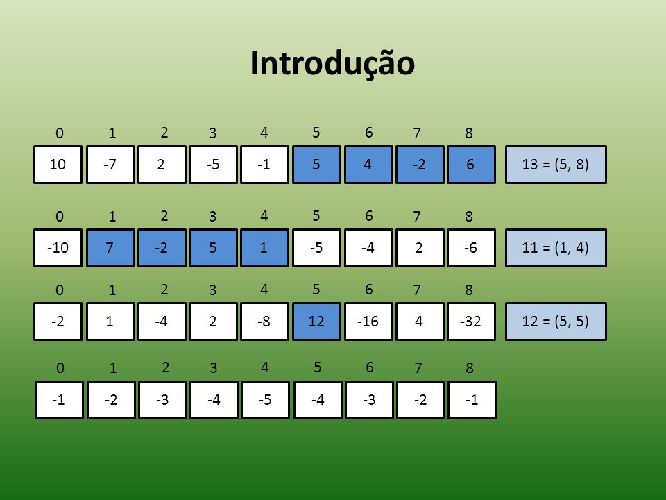 Introdução 10-72-554-2613 = (5, 8) 01 2 3 456 78 -107-251-5-42-611 = (1, 4) 01 2 3 456 78 -21-42-812-164-3212 = (5, 5) 01 2 3 456 78 -2-3-4-5-4-3-20 = (-, -) 01 2 3 456 78