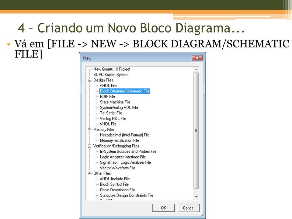 4 – Criando um Novo Bloco Diagrama... Vá em [FILE -> NEW -> BLOCK DIAGRAM/SCHEMATIC FILE]