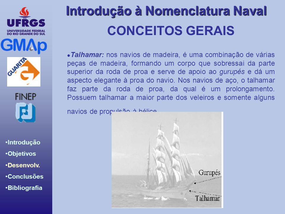 Introdução Objetivos Desenvolv. Conclusões Bibliografia Introdução à Nomenclatura Naval CONCEITOS GERAIS Talhamar: nos navios de madeira, é uma combin