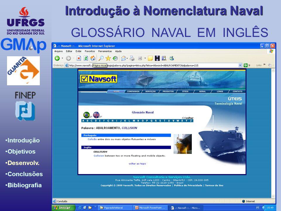 Introdução Objetivos Desenvolv. Conclusões Bibliografia Introdução à Nomenclatura Naval GLOSSÁRIO NAVAL EM INGLÊS
