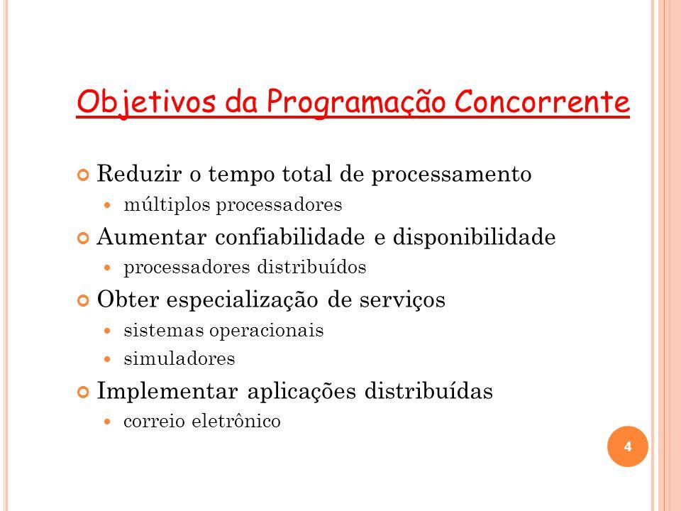 4 Objetivos da Programação Concorrente Reduzir o tempo total de processamento múltiplos processadores Aumentar confiabilidade e disponibilidade proces