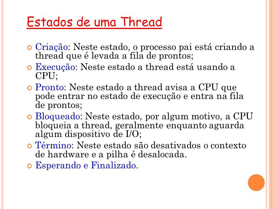 Estados de uma Thread Criação: Neste estado, o processo pai está criando a thread que é levada a fila de prontos; Execução: Neste estado a thread está