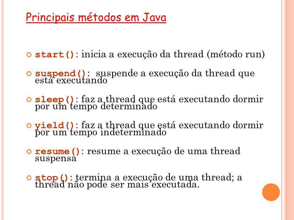 Principais métodos em Java start() : inicia a execução da thread (método run) suspend() : suspende a execução da thread que está executando sleep() :