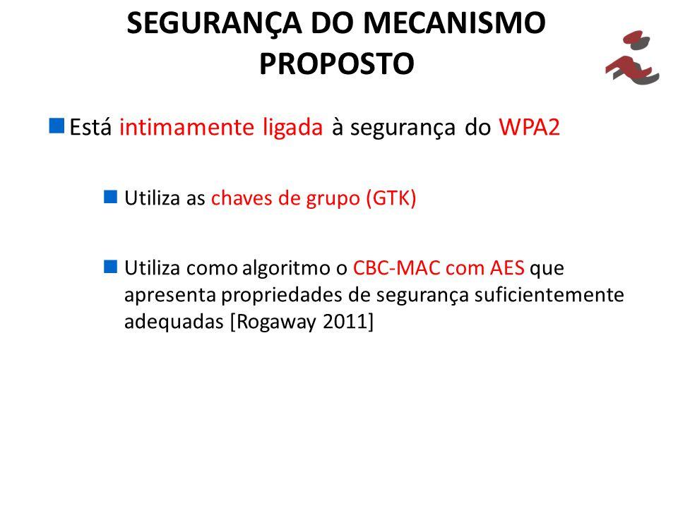 SEGURANÇA DO MECANISMO PROPOSTO Está intimamente ligada à segurança do WPA2 Utiliza as chaves de grupo (GTK) Utiliza como algoritmo o CBC-MAC com AES que apresenta propriedades de segurança suficientemente adequadas [Rogaway 2011]