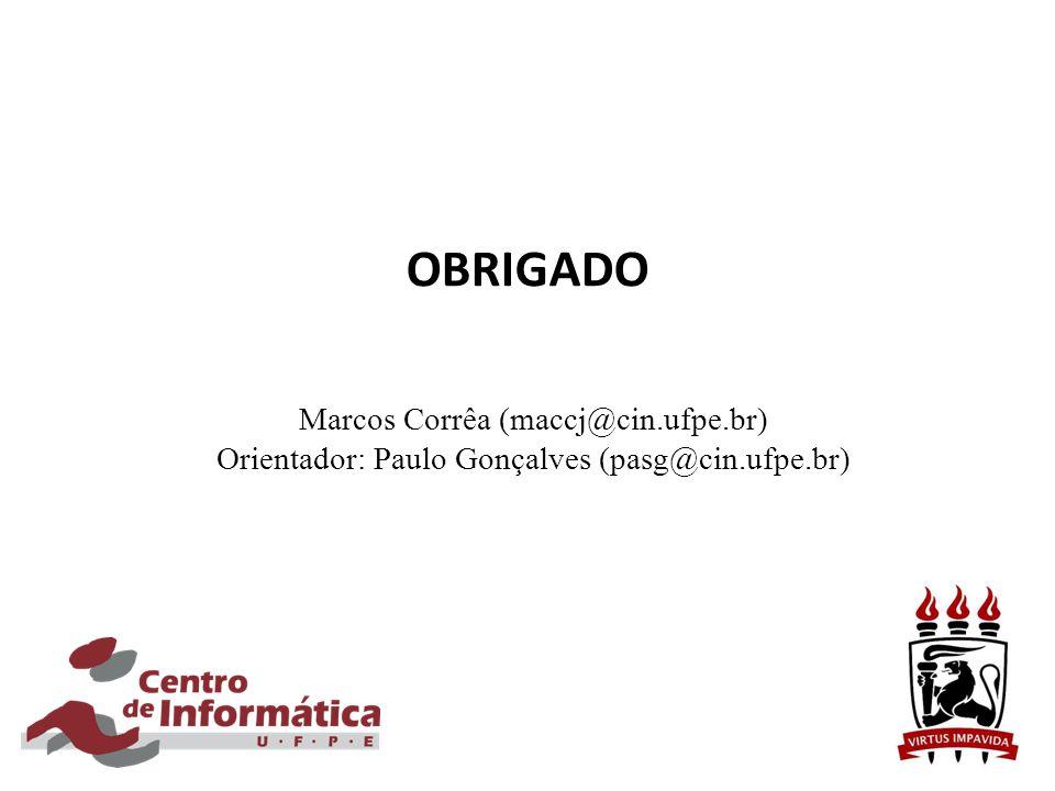 OBRIGADO Marcos Corrêa (maccj@cin.ufpe.br) Orientador: Paulo Gonçalves (pasg@cin.ufpe.br)