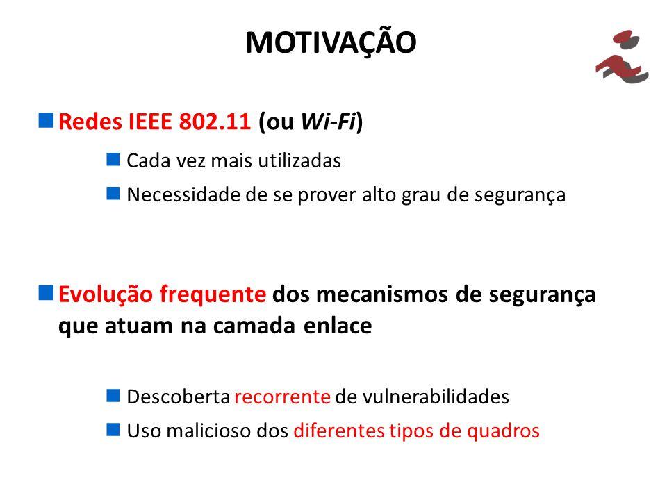 MOTIVAÇÃO Redes IEEE 802.11 (ou Wi-Fi) Evolução frequente dos mecanismos de segurança que atuam na camada enlace Cada vez mais utilizadas Necessidade de se prover alto grau de segurança Descoberta recorrente de vulnerabilidades Uso malicioso dos diferentes tipos de quadros