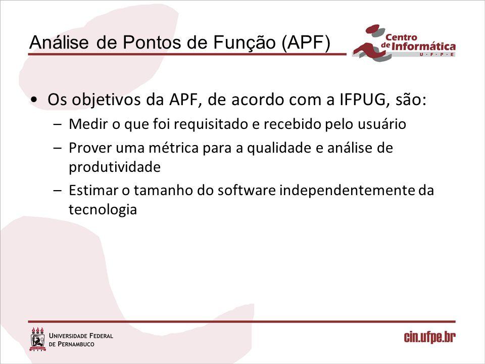 Análise de Pontos de Função (APF) Os objetivos da APF, de acordo com a IFPUG, são: –Medir o que foi requisitado e recebido pelo usuário –Prover uma mé