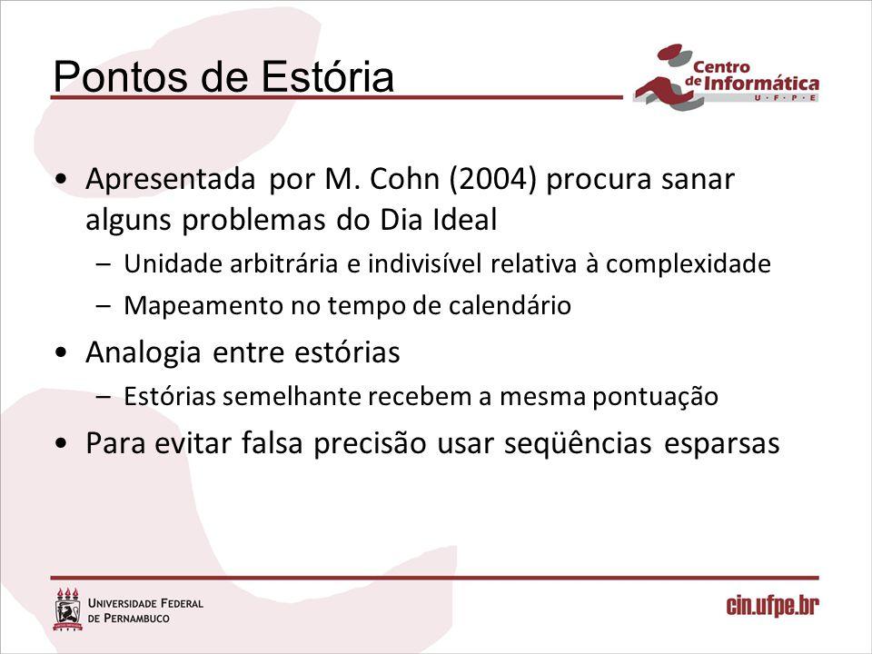 Pontos de Estória Apresentada por M. Cohn (2004) procura sanar alguns problemas do Dia Ideal –Unidade arbitrária e indivisível relativa à complexidade