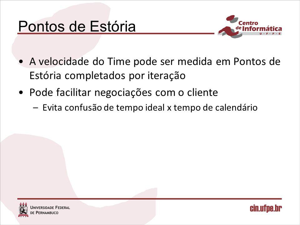 Pontos de Estória A velocidade do Time pode ser medida em Pontos de Estória completados por iteração Pode facilitar negociações com o cliente –Evita c