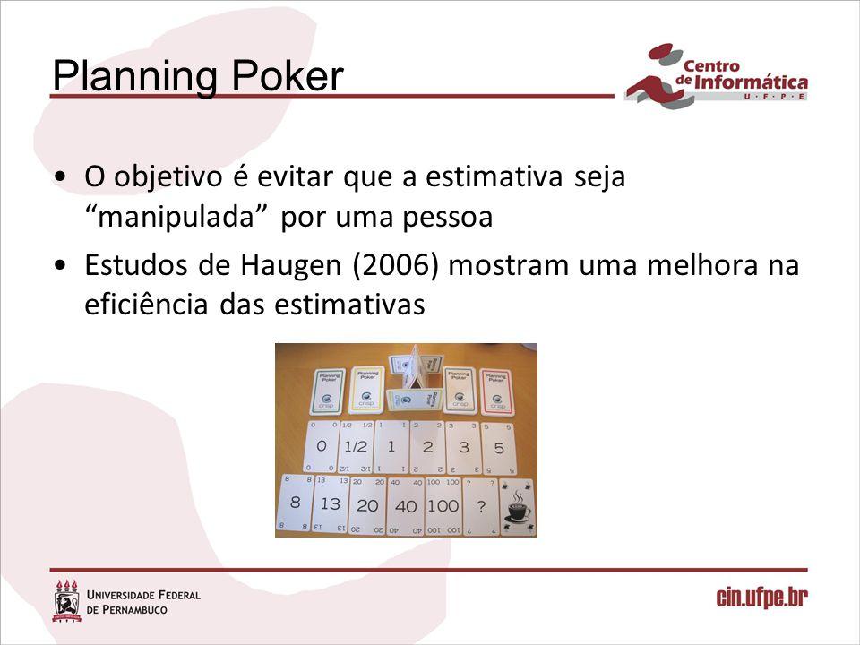 Planning Poker O objetivo é evitar que a estimativa seja manipulada por uma pessoa Estudos de Haugen (2006) mostram uma melhora na eficiência das esti