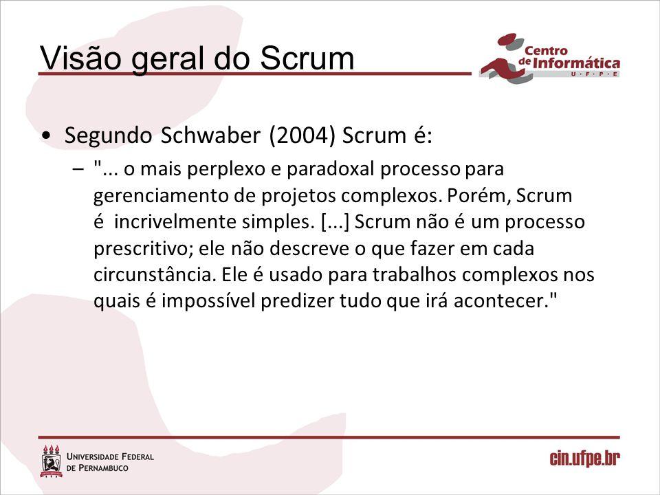 Visão geral do Scrum Segundo Schwaber (2004) Scrum é: –