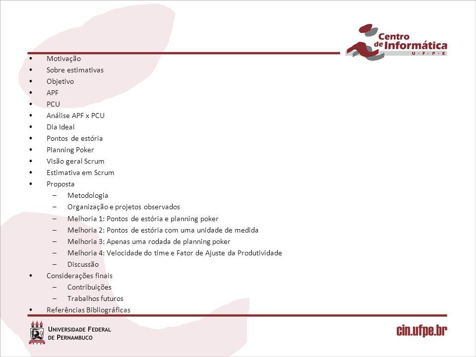 Pontos de Caso de Uso (PCU) Técnica para estimar tamanho de software baseada na APF –Resultado de uma tese de doutorado de Karner (1993) Voltada para sistemas construídos com OO –Projetos orientados a objetos podem ser medidos diretamente através dos diagramas de casos de usos Utilizada em empresas como, Rational e SUN –Mas, sem disponibilização de novas versões
