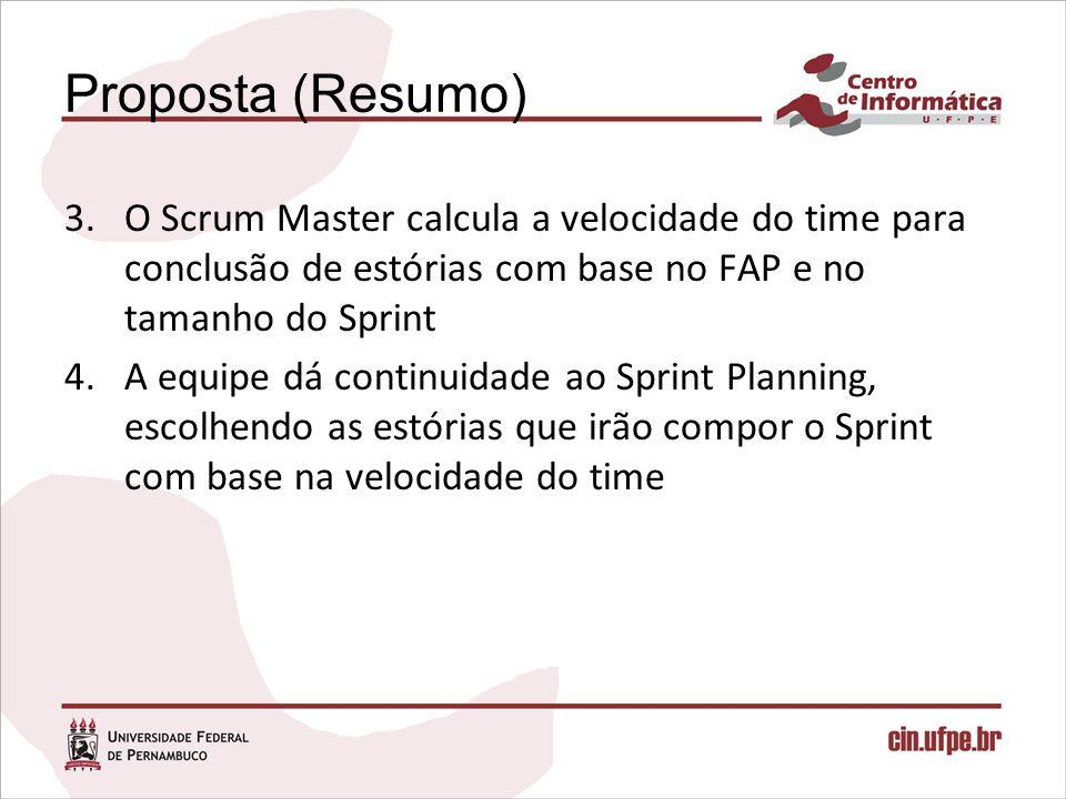 Proposta (Resumo) 3.O Scrum Master calcula a velocidade do time para conclusão de estórias com base no FAP e no tamanho do Sprint 4.A equipe dá contin