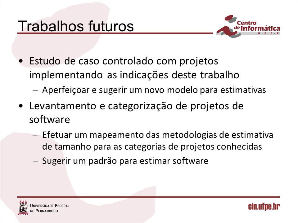 Trabalhos futuros Estudo de caso controlado com projetos implementando as indicações deste trabalho –Aperfeiçoar e sugerir um novo modelo para estimat