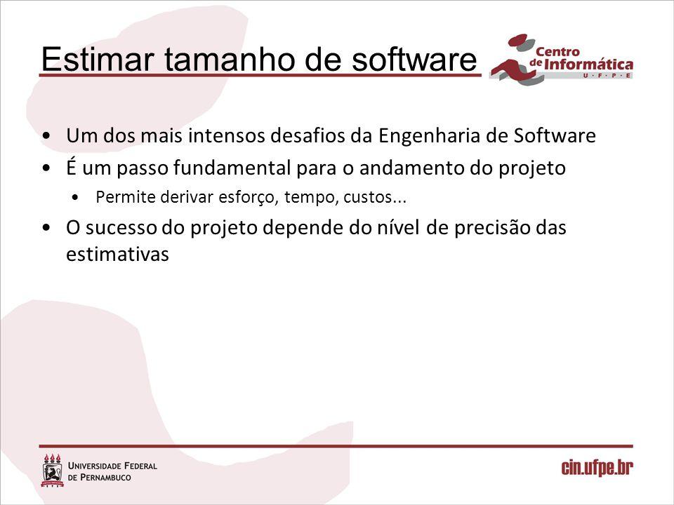 Estimar tamanho de software Um dos mais intensos desafios da Engenharia de Software É um passo fundamental para o andamento do projeto Permite derivar