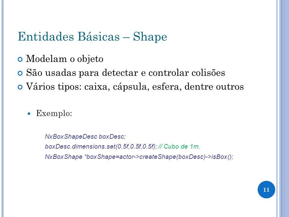 11 Entidades Básicas – Shape Modelam o objeto São usadas para detectar e controlar colisões Vários tipos: caixa, cápsula, esfera, dentre outros Exempl