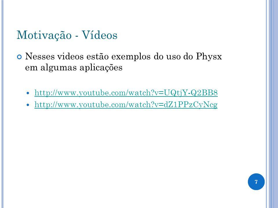 Motivação - Vídeos Nesses videos estão exemplos do uso do Physx em algumas aplicações http://www.youtube.com/watch?v=UQtjY-Q2BB8 http://www.youtube.co
