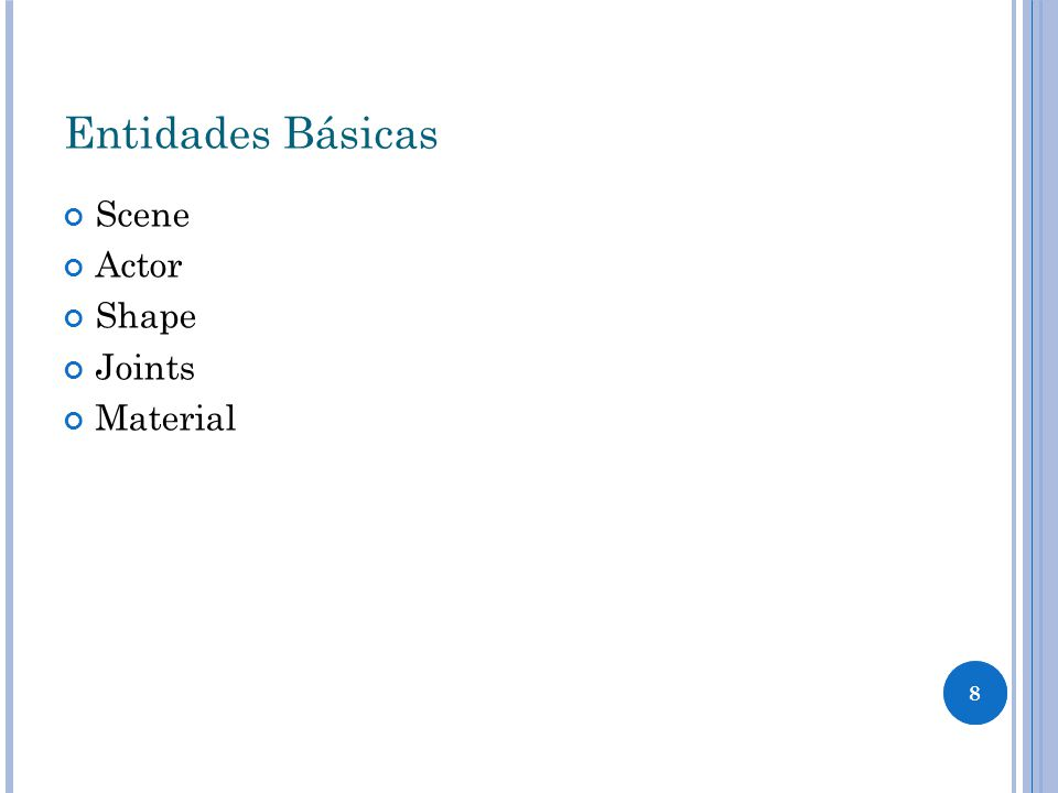 8 Entidades Básicas Scene Actor Shape Joints Material