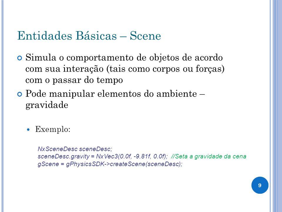 20 Praticando – Exercício 1 Criando um plano para servir de chão: NxPlaneShapeDesc planeDesc; NxActorDesc actorDesc; actorDesc.shapes.pushBack(&planeDesc); gScene->createActor(actorDesc);