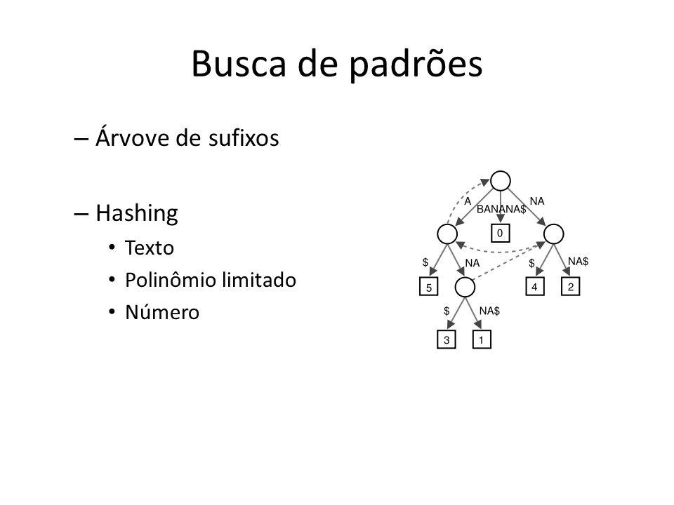 Busca de padrões – Árvove de sufixos – Hashing Texto Polinômio limitado Número