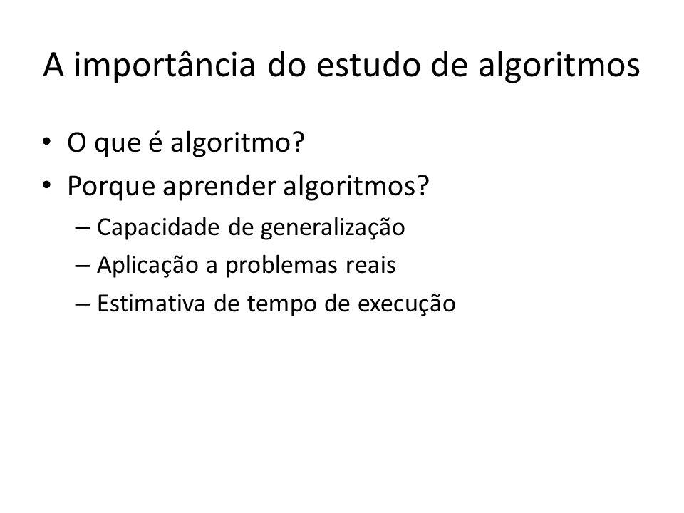 A importância do estudo de algoritmos O que é algoritmo? Porque aprender algoritmos? – Capacidade de generalização – Aplicação a problemas reais – Est