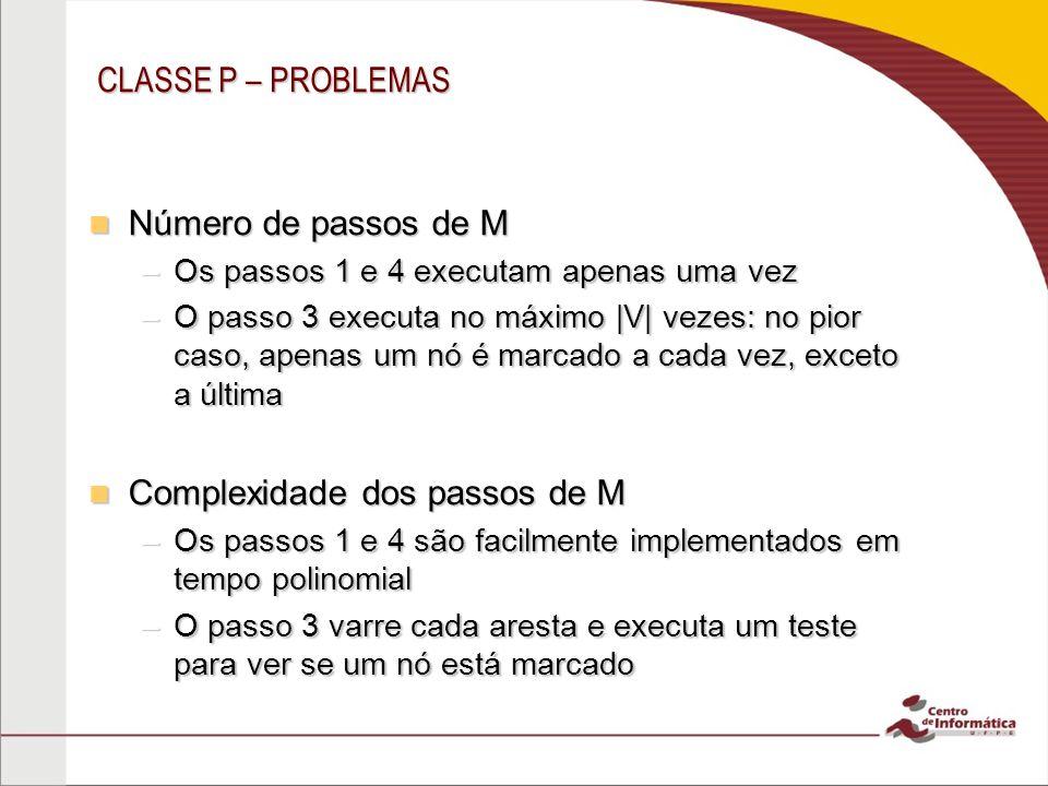CLASSE P – PROBLEMAS Número de passos de M Número de passos de M –Os passos 1 e 4 executam apenas uma vez –O passo 3 executa no máximo  V  vezes: no p