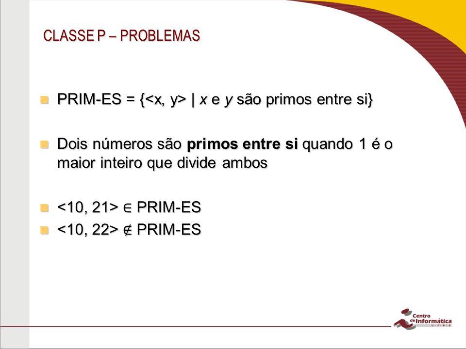 CLASSE P – PROBLEMAS PRIM-ES = {   x e y são primos entre si} PRIM-ES = {   x e y são primos entre si} Dois números são primos entre si quando 1 é o m