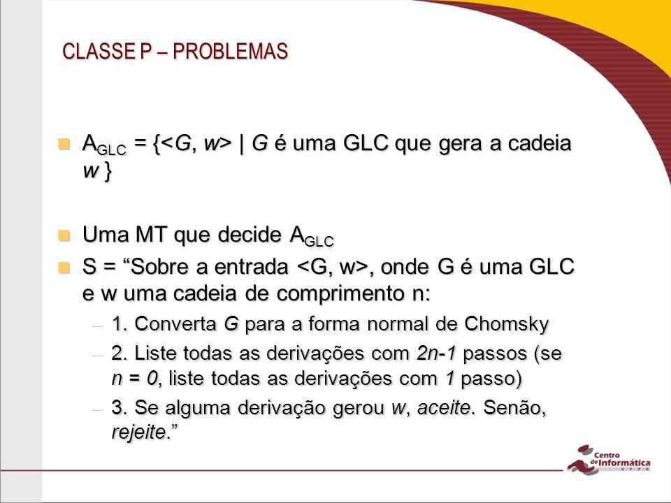 CLASSE P – PROBLEMAS A GLC = {   G é uma GLC que gera a cadeia w } A GLC = {   G é uma GLC que gera a cadeia w } Uma MT que decide A GLC Uma MT que de