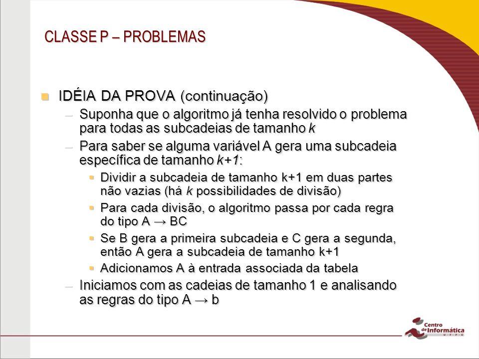 CLASSE P – PROBLEMAS IDÉIA DA PROVA (continuação) IDÉIA DA PROVA (continuação) –Suponha que o algoritmo já tenha resolvido o problema para todas as su