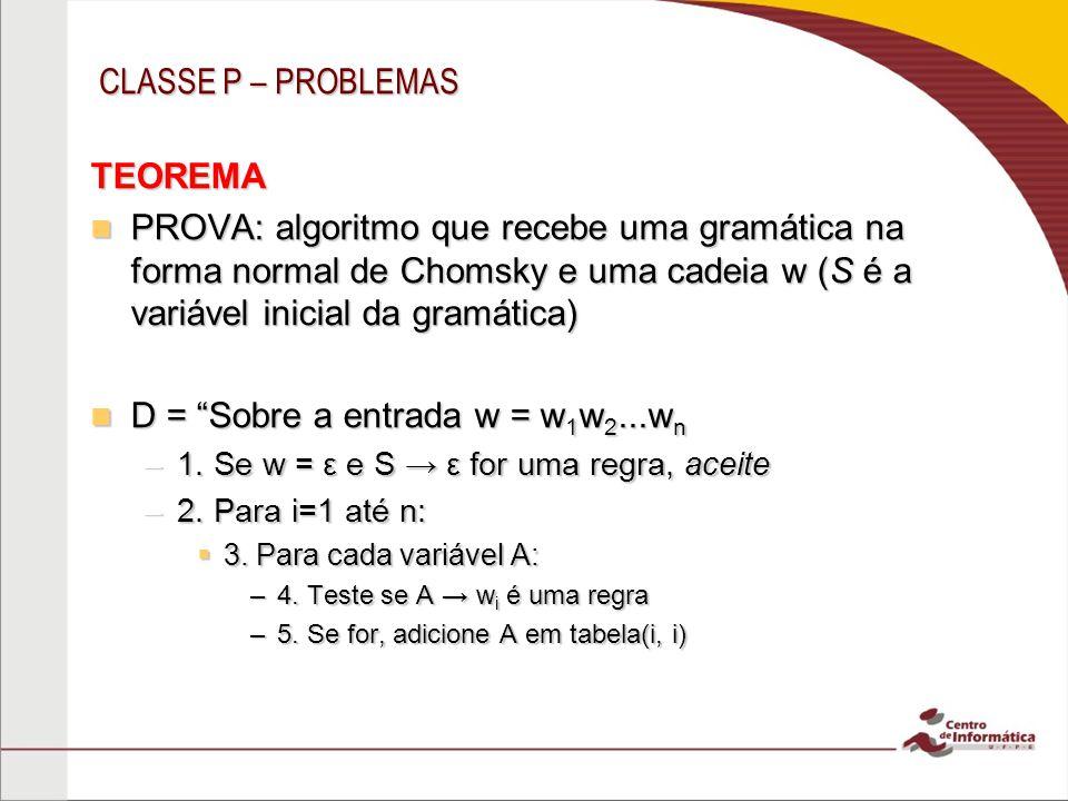 CLASSE P – PROBLEMAS TEOREMA PROVA: algoritmo que recebe uma gramática na forma normal de Chomsky e uma cadeia w (S é a variável inicial da gramática)