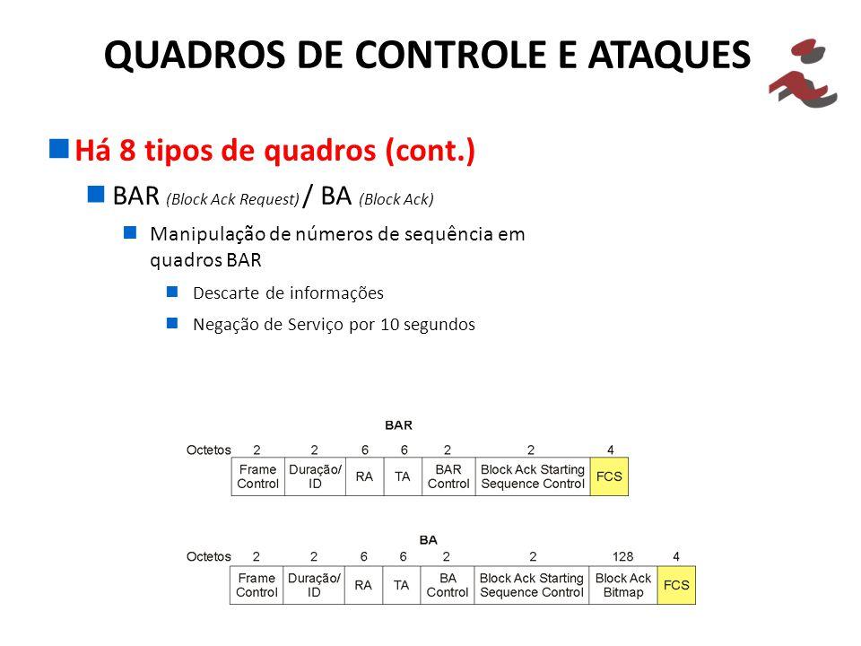 Há 8 tipos de quadros (cont.) BAR (Block Ack Request) / BA (Block Ack) Manipulação de números de sequência em quadros BAR Descarte de informações Nega