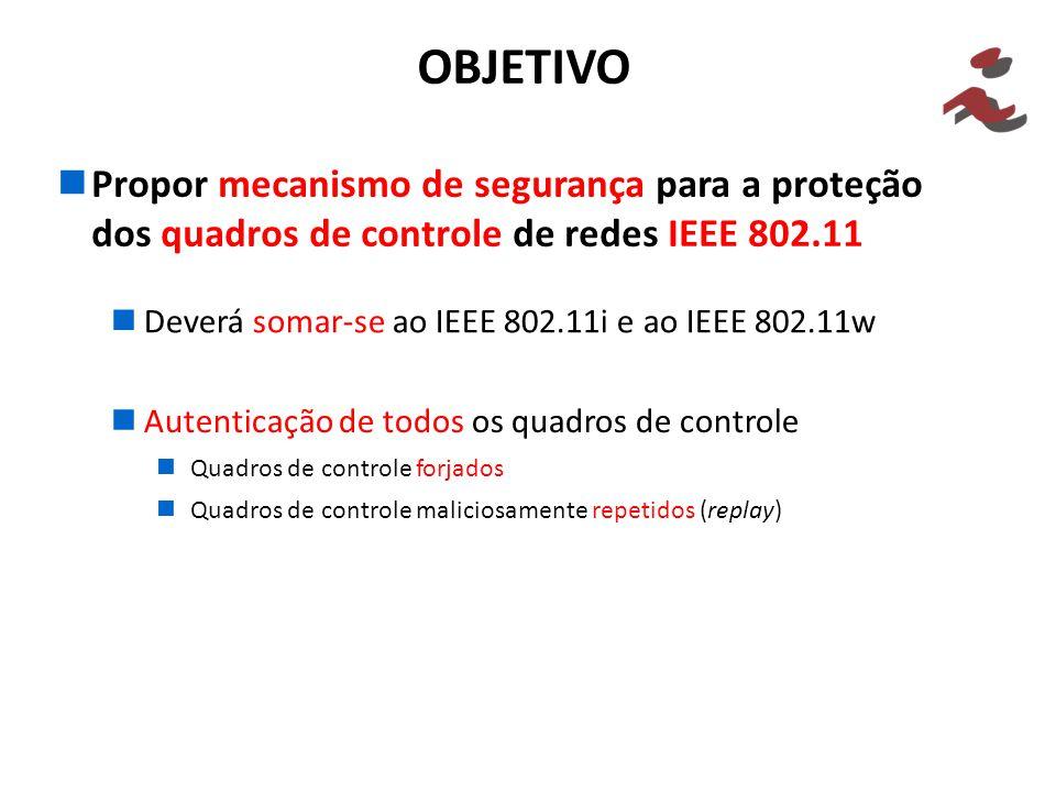 Propor mecanismo de segurança para a proteção dos quadros de controle de redes IEEE 802.11 OBJETIVO Deverá somar-se ao IEEE 802.11i e ao IEEE 802.11w