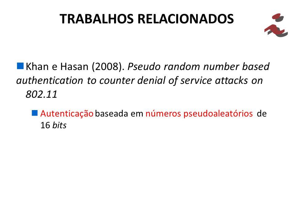 Khan e Hasan (2008). Pseudo random number based authentication to counter denial of service attacks on 802.11 TRABALHOS RELACIONADOS Autenticação base