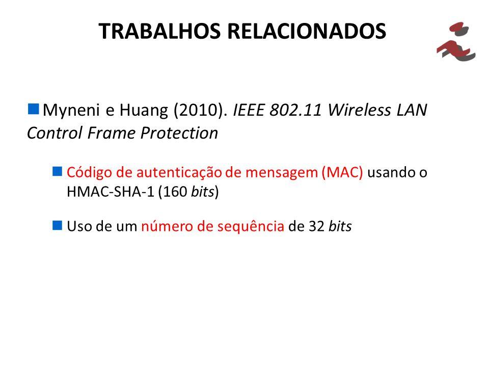 Myneni e Huang (2010). IEEE 802.11 Wireless LAN Control Frame Protection TRABALHOS RELACIONADOS Código de autenticação de mensagem (MAC) usando o HMAC