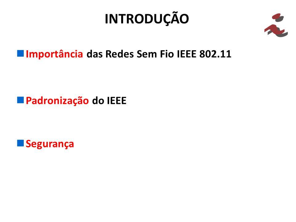 INTRODUÇÃO Importância das Redes Sem Fio IEEE 802.11 Padronização do IEEE Segurança