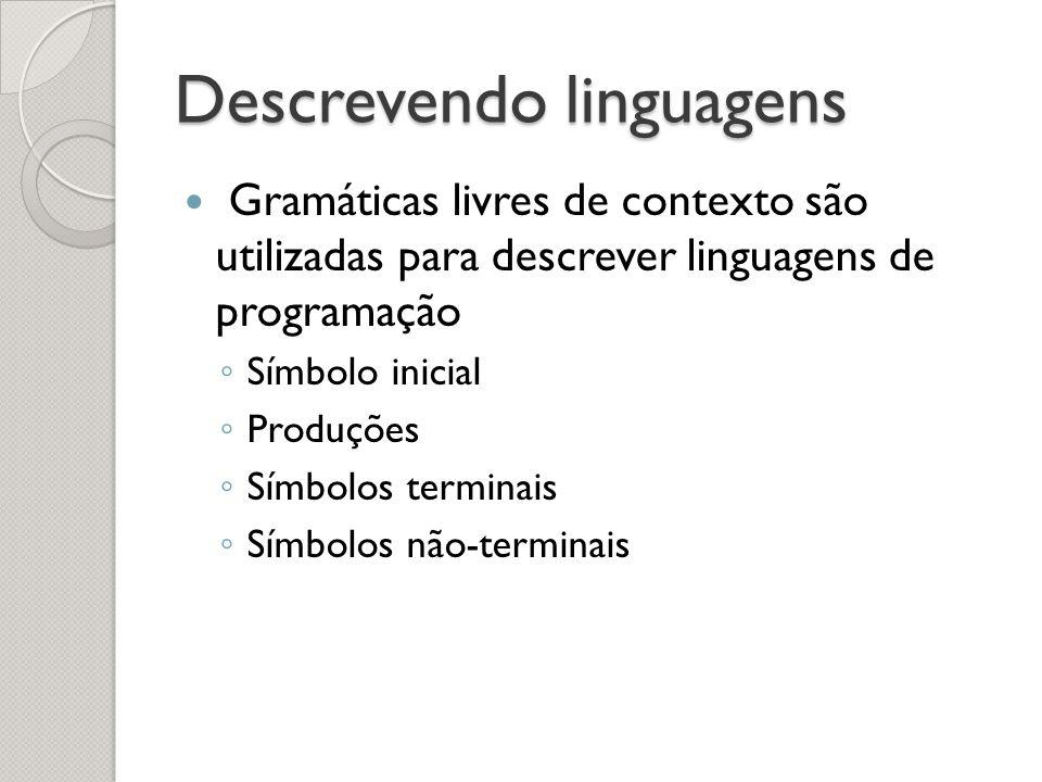 Descrevendo linguagens Gramáticas livres de contexto são utilizadas para descrever linguagens de programação Símbolo inicial Produções Símbolos termin