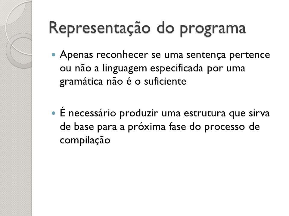 Representação do programa Apenas reconhecer se uma sentença pertence ou não a linguagem especificada por uma gramática não é o suficiente É necessário