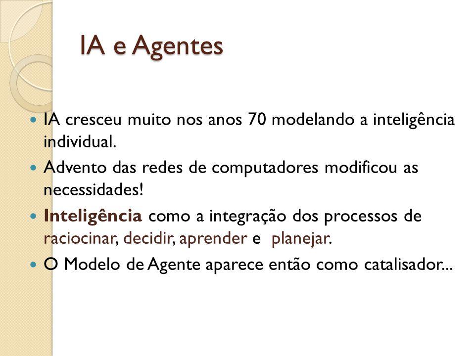 IA e Agentes IA cresceu muito nos anos 70 modelando a inteligência individual. Advento das redes de computadores modificou as necessidades! Inteligênc