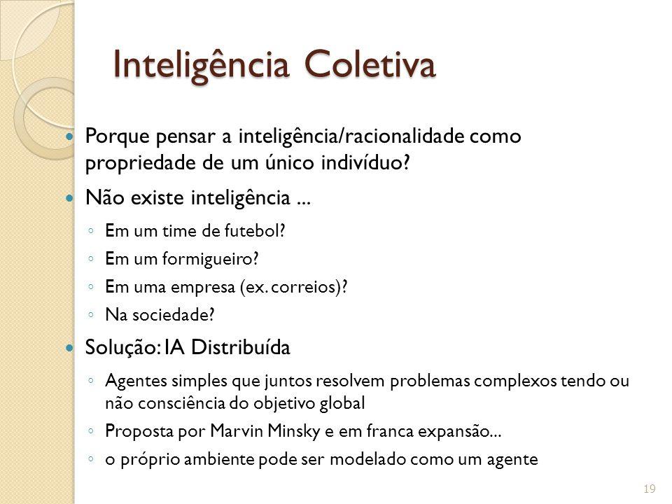 Inteligência Coletiva Porque pensar a inteligência/racionalidade como propriedade de um único indivíduo? Não existe inteligência... Em um time de fute